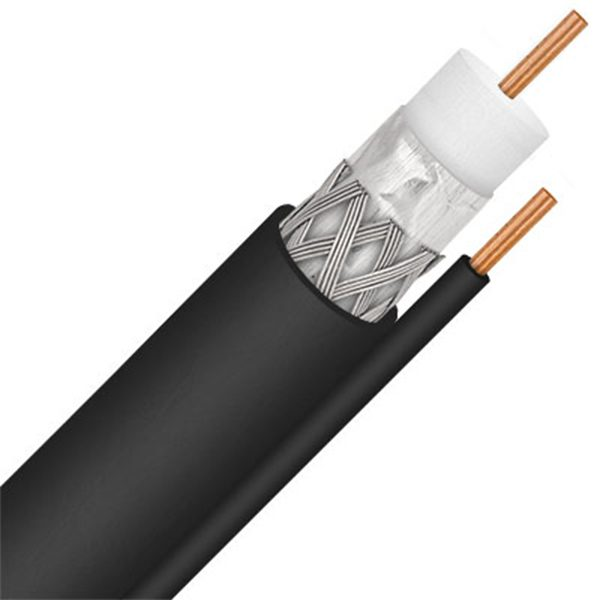 Coax, RG-6, Solid Copper, Single w/GROUND, 1000', BLACK