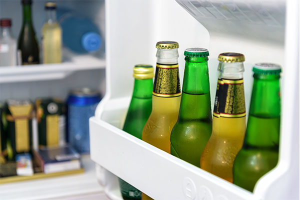 Beers inside a minibar