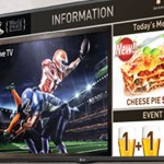 Samsung digital display showing football player and menu