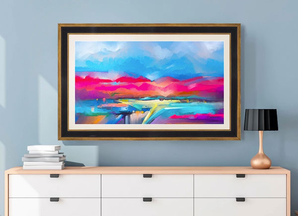 The Frame Front view. Display over dresser showing art work.